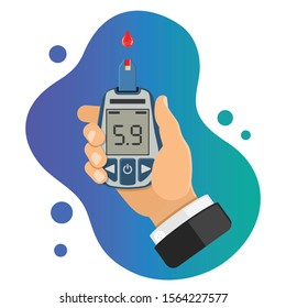 diabetes concept. hand holds blood glucose meter. blood sugar level testing, treatment, monitoring and diagnosis of diabetes. icon in flat style. isolated vector illustration