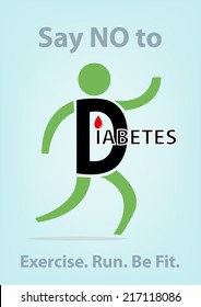 Diabetes Concept. Person Symbol Running to lose weight and prevent diabetes.