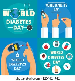 Diabetes day banner set. Flat illustration of diabetes day vector banner set for web design