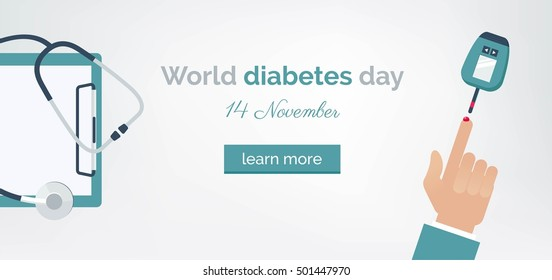 Diabetes day concept. World diabetes day banner with man testing his blood glucose level and medical clipboard. Vector illustration