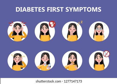 Diabetes early signs and symptoms infographic. Problem with sugar level in blood. Idea of healthcare and treatment. Diabetic person. Flat vector illustration