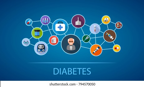 Diabetes flat icon concept. Vector illustration. Element template for design.