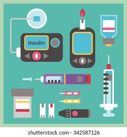 Diabetes Flat Icon Set - Insulin Pump, Glucometer, Syringe, Injection Pen, Lancets, Blood Glucose Test