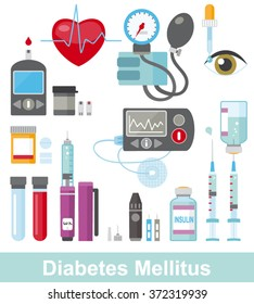 Diabetes Flat Icon Set isolated