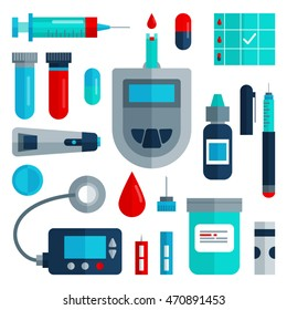 Diabetes flat icon set isolated. Diabetic items: glucometer, insulin pump, blood glucose test, lancets, test strips, syringe, pills, needle. Diabetes infographic elements. Health care concept