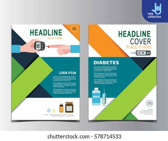 Diabetes health flyer leaflet brochure template A4 size design.abstract  flat vector modern multipurpose style.annual report book cover layout.