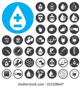 Diabetes icons set. Illustration EPS10