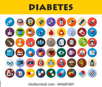 Diabetes icons set. Vector illustration