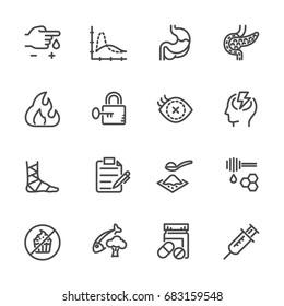 Diabetes icons set, Vector line icons