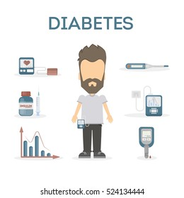 Diabetes infographic set. Man with equipment standing on white background.