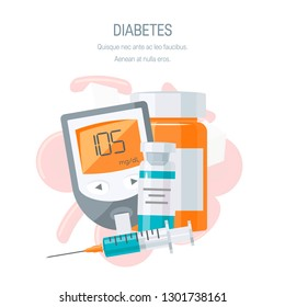Diabetes management concept. Blood glucose monitor, medicine and insulin with vial. Vector illustration in flat style
