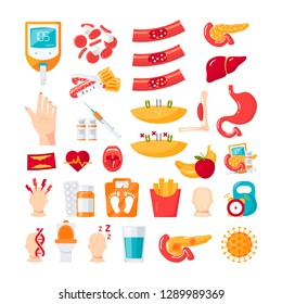Diabetes mellitus disease. Set of vector icons in flat style
