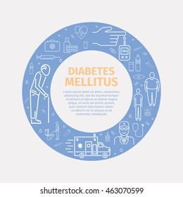 Diabetes Mellitus Symptoms and Symbols. banner with line icons