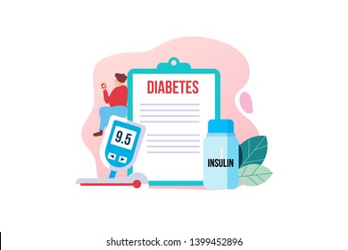 Diabetes patient concept with tiny people character for web landing page template, banner, flyer and presentation