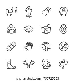 Diabetes Symptoms, Simple thin line healthcare and medical icons set, Vector icon design