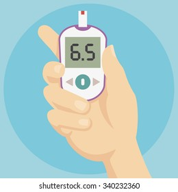 Diabetes Treatment - Hand holding Blood Glucose Meter - Flat Icon
