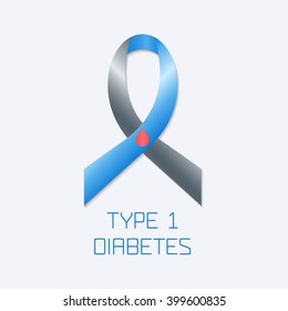 Diabetes Type 1 awareness symbol. Blue and grey ribbon with a drop of blood on white background. Vector illustration.