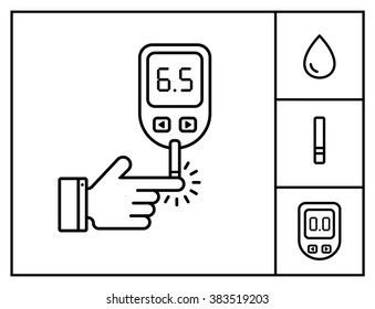 Diabetes vector linear icon set. Blood glucose test. Line style icon hand with glucose meter. Home glucose meter vector illustration.