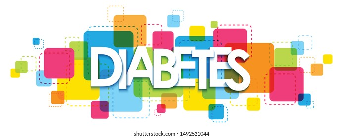 DIABETES vector typography banner on background of colorful squares