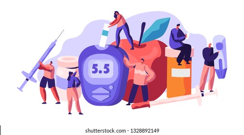 Diabetic Blood Glucose Level Test at Digital Glucometer. Insulin Drop for Health Care Treatment. Doctor Measuring Sugar with Meter Strip Blue Monitoring Equipment Flat Cartoon Vector Illustration