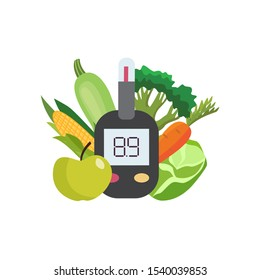 Diabetic blood testing device or glucose meter among healthy vegan food, flat cartoon vector illustration isolated on white background. Medical diabet disease prevention.