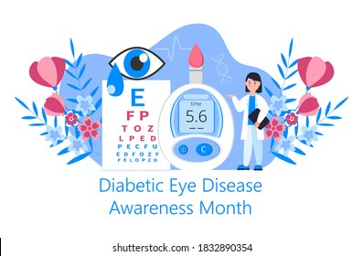 Diabetic Eye Disease Awareness Month concept vector for medical blog, website. Event is celebrated in November. Doctor and glucose meter are shown on the floral background.