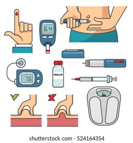 Diabetic therapy set line icons in flat design.