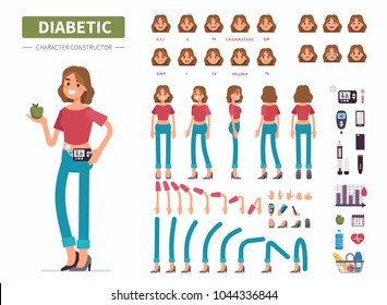 Diabetic woman character  constructor for animation. Front, side and back view. Flat  cartoon style vector illustration isolated on white background.