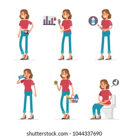 Diabetic woman character daily routine. Flat style vector illustration isolated on white background.