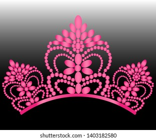 687b44d1 Diadem. Elegance of women's tearias with reflection. in pink color,  isolated on a