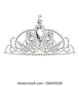 Diadem. tiara. Falling Gems. Background. Shiny Diamond Design. Vector illustration. Collection