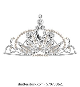 Diadem. Tiara. Falling Gems. Shiny Diamond Design. Vector illustration. Collection.