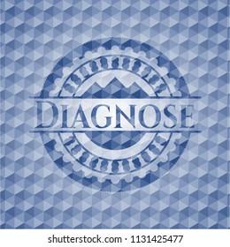 Diagnose blue polygonal emblem.