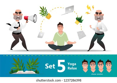 Diagnosing a nervous breakdown and relaxation of a manager's employee using yoga. Young business man in lotus position. Set of emotions for cartoon character office worker. Boss screams and makes work