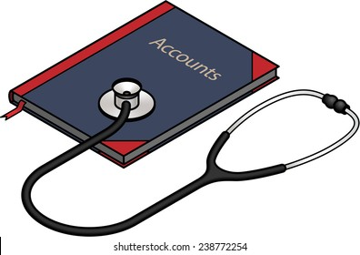 Diagnosis And Analysis Concept Stethoscope On A Ledger Accounts Book