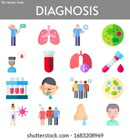 diagnosis flat icon set on theme coronovirus. Included icons as fever, pneumonia, coronavirus, petri dish, blood test, blood sample, runny nose, avoid crowds, ncov and more