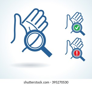 Diagnosis of hand skin vector icon