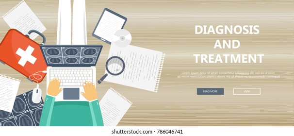 Diagnosis and treatment concept. Doctor sitting on wooden floor and holding lap top in his lap. Flat vector illustration