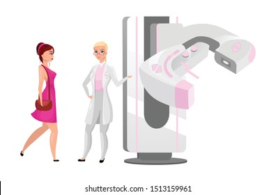Diagnostic mammography flat vector illustration. Woman breast screening procedure. Physician with modern X ray machine. Radiography procedure. Female patient with mammologist cartoon characters