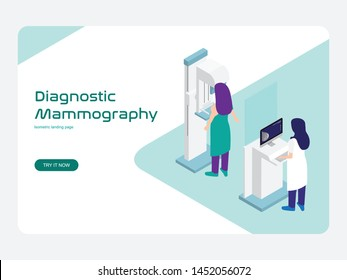 Diagnostic and screening Mammography vector, the doctor checks the patient's breast health using a mammogram machine. Modern flat isometric design