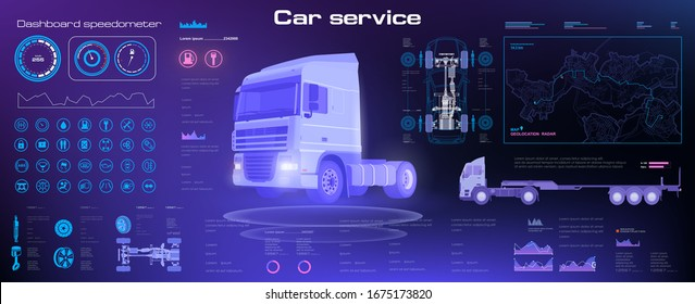 Diagnostics of the state of the truck chassis and the entire electronic control system. Analysis and diagnostics autonomous smart truck. Unmanned truck control system