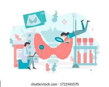 Diagnostics and treatment of thyroid diseases.  Thyroid  health concept Medical concept with tiny people. Flat vector illustration.