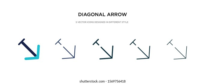 diagonal arrow icon in different style vector illustration. two colored and black diagonal arrow vector icons designed in filled, outline, line and stroke style can be used for web, mobile, ui