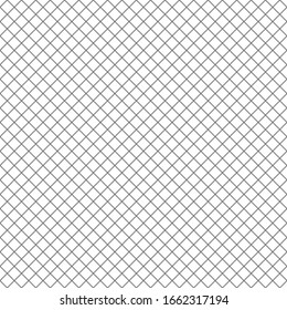 Diagonal black and white simple check, square, plaid seamless geometric background, texture. Straight even crossing stripes, narrow streaks, bars, thin lines. Lattice, grating, fence geometric pattern