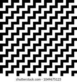 diagonal black and white zigzag stripes pattern. Geometric repeating pattern of zigzag. Vector background design