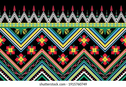 Diagonal ikat stripes. Zigzag pattern. Geometric and  floral abstract illustration, wallpaper. Tribal ethnic vector texture. Aztec style. Folk embroidery. vector illustration.