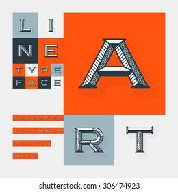 Diagonal lines beveled modern font