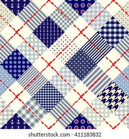Diagonal plaid in patchwork nautical style. Seamless vector illustration