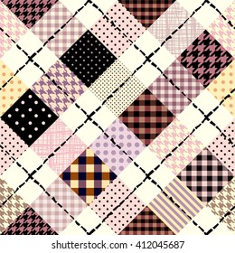 Diagonal plaid in patchwork style. Seamless vector illustration