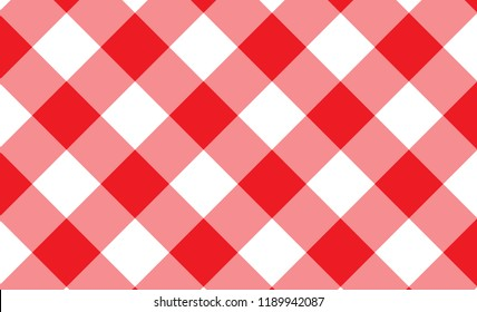 Diagonal red and white  Gingham pattern Texture from rhombus/squares for - plaid, clothes, shirts, dresses, paper, bedding, blankets, quilts and other textile products. Vector illustration